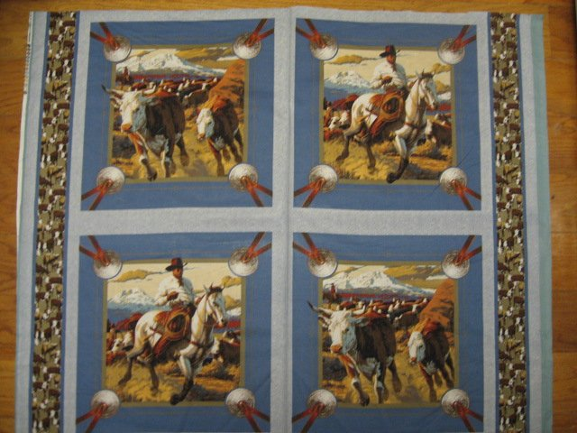 Cowboy Horse Cattle Cow Fabric Pillow Panel Set of four to sew