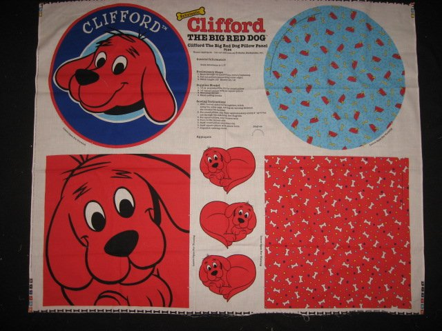 Clifford the Big Red Dog Pillow Panels with their backing fabric to sew