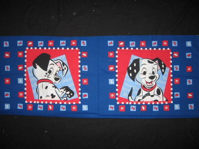 Disney Dalmatian Dogs Domino and Dipper Pillow panel fabric set of two to sew