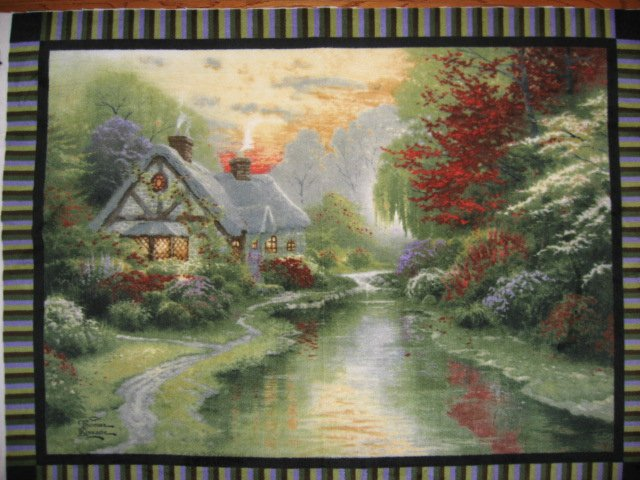 Kinkade Fleece Blanket with finished edges A Quiet Evening Cottage
