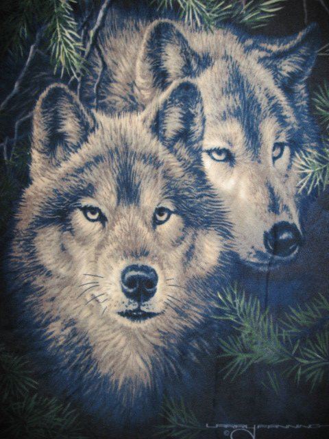 Image 0 of Wolf Wolves by Artist Fanning Fleece Blanket