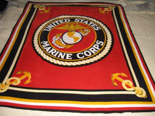 Image 1 of United States Marines Military Fleece Blanket