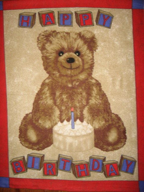 Baby's First Birthday bear Fleece Blanket child size quality thick  Huge Rare