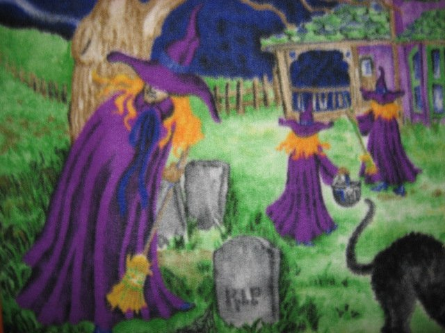 Image 1 of Halloween Haunted house witch ghost cat handmade new Fleece blanket RARE