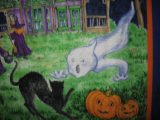 Image 2 of Halloween Haunted house witch ghost cat handmade new Fleece blanket RARE