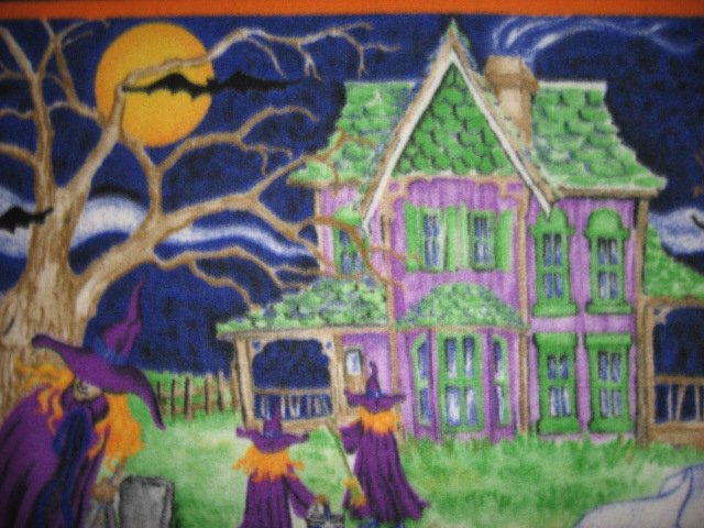 Image 3 of Halloween Haunted house witch ghost cat handmade new Fleece blanket RARE