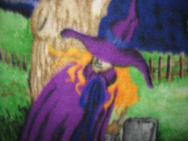 Image 4 of Halloween Haunted house witch ghost cat handmade new Fleece blanket RARE
