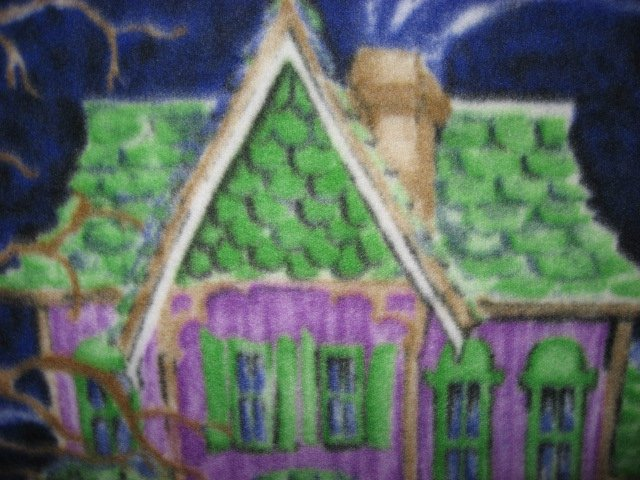 Image 6 of Halloween Haunted house witch ghost cat handmade new Fleece blanket RARE