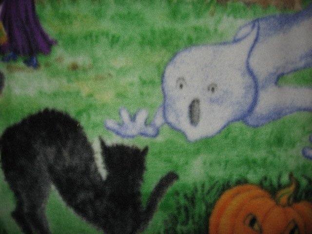 Image 7 of Halloween Haunted house witch ghost cat handmade new Fleece blanket RARE