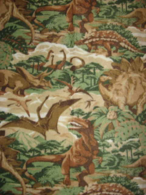 Image 0 of Dinosaur realistic Jungle Beige Fleece Baby toddler comfort Blanket rare 46