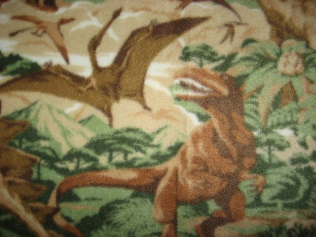 Image 1 of Dinosaur realistic Jungle Beige Fleece Baby toddler comfort Blanket rare 46