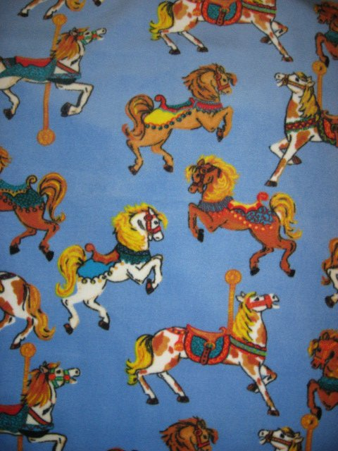 Carousel Horse Antipill handmade fleece baby blanket Rare fleece