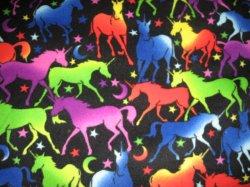 Neon Unicorn and stars Fleece Baby Blanket very rare fleece