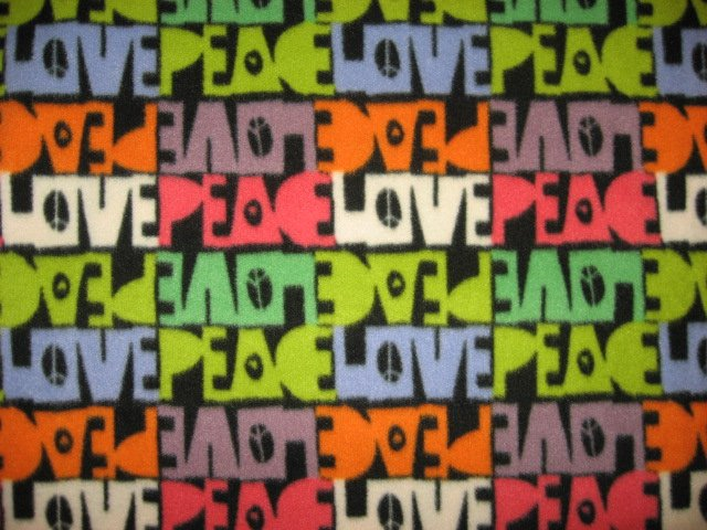 Peace sign fleece blanket with the words love and peace 72
