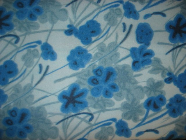 Flowers blue Fleece Blanket Mother's day or Christmas gift
