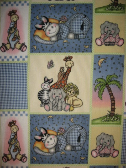 Bazooples zebra giraffe animals Child baby blanket Handmade with licensed fleece