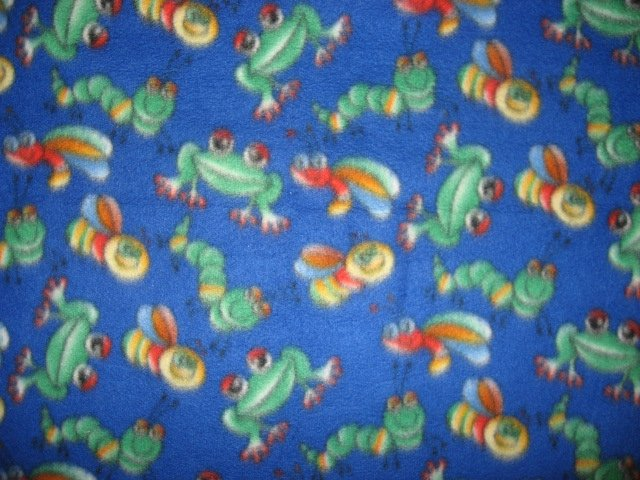 Bees Frogs and Bugs Child Bed size Fleece Blanket