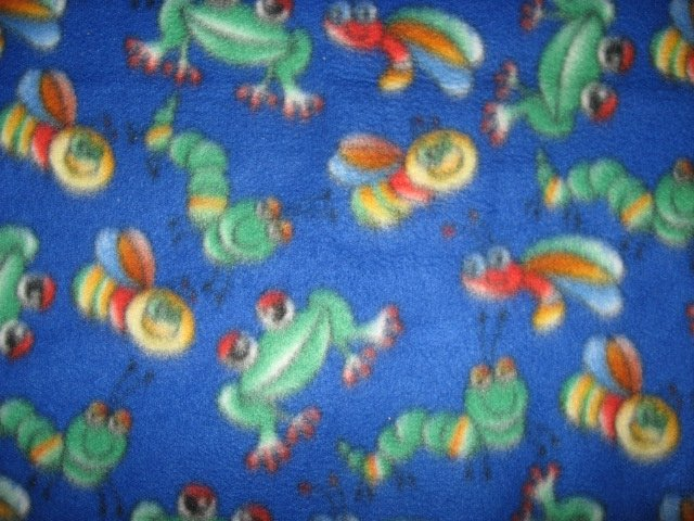 Image 1 of Bees Frogs and Bugs Child Bed size Fleece Blanket