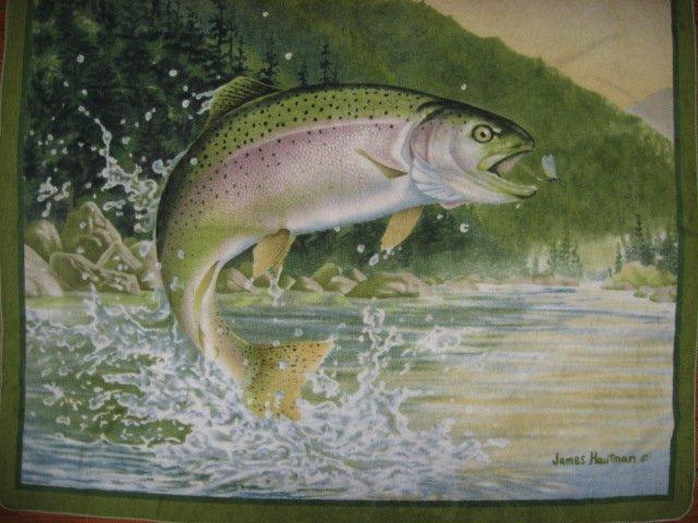 Image 0 of Rainbow Trout Fish Artist Hautman LIGHTWIGHT warm Fleece Blanket  gift  Dad