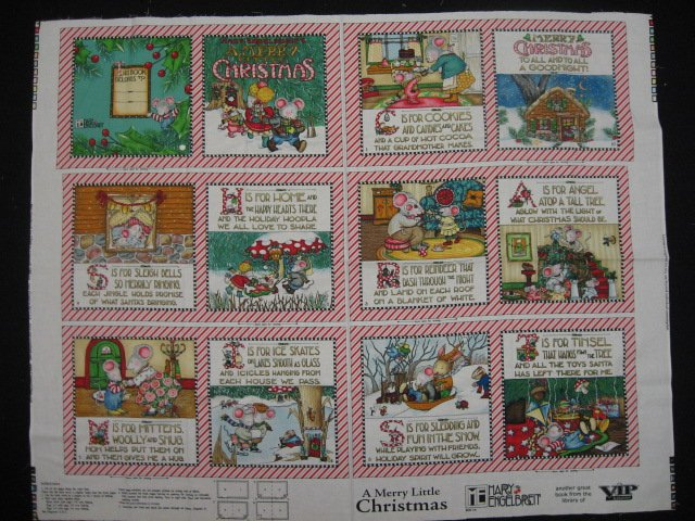 Mary Engelbreit Christmas Mice Soft Book Fabric Panel to sew