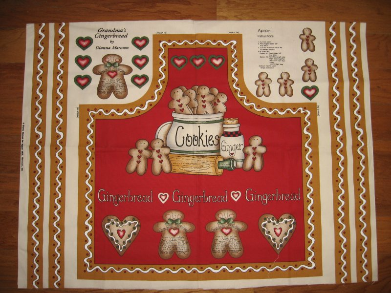 Gingerbread Cookies Fabric Apron aprons Panel to sew by Dianna Marcum Rare