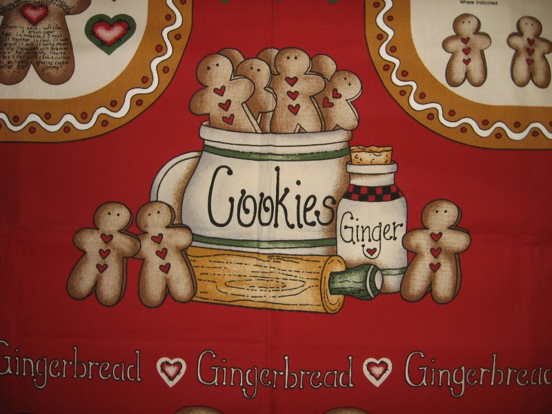 Image 1 of Gingerbread Cookies Fabric Apron aprons Panel to sew by Dianna Marcum Rare