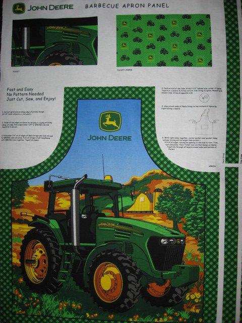 Image 0 of John Deere Tractor Fabric Apron aprons Licensed Panel to sew