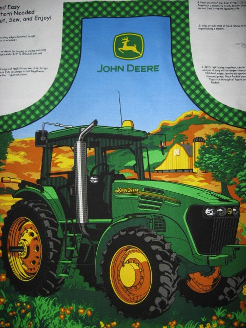 Image 1 of John Deere Tractor Fabric Apron aprons Licensed Panel to sew