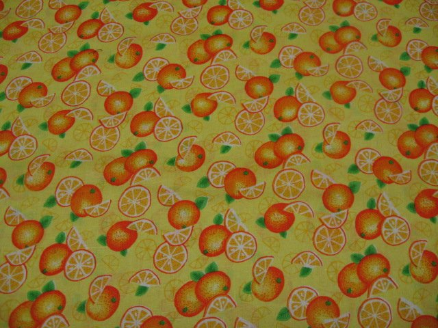 Image 0 of Oranges Slices Farm Fruit Food Country Yellow cotton fabric Fat quarter /
