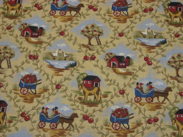 Country Barn Farm Cow Geese Horse Wagon Apples Amish cotton fabric by the yard