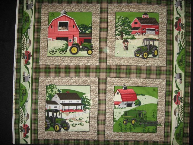 Four Fabric Pillow Panels Set John Deere Farm for Quilt and Sewing
