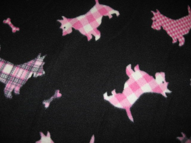 Scottie Dog fleece blanket pink plaid for pet crate 29X36