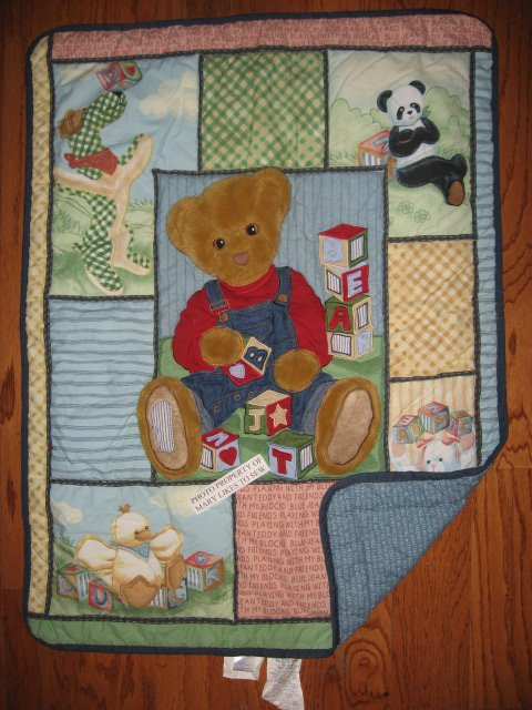 Daisy Kingdom Blue Jean Teddy with toys Cotton Baby crib quilt finished edge