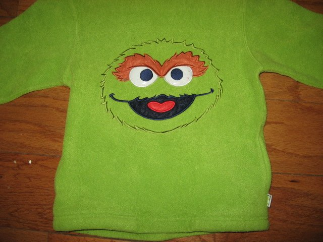 Image 1 of Sesame Street Oscar the Grouch hooded fleece jacket  child size 5T /