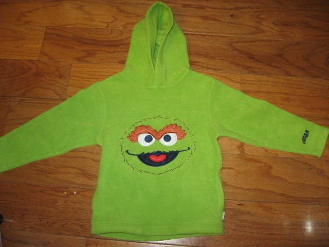 Image 2 of Sesame Street Oscar the Grouch hooded fleece jacket  child size 5T /