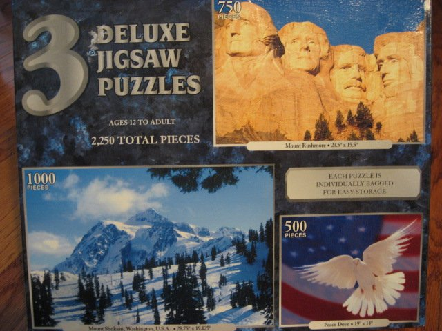 Mount Rushmore Peace dove and Mount Shuksan, Washington 3 deluxe sealed  puzzle