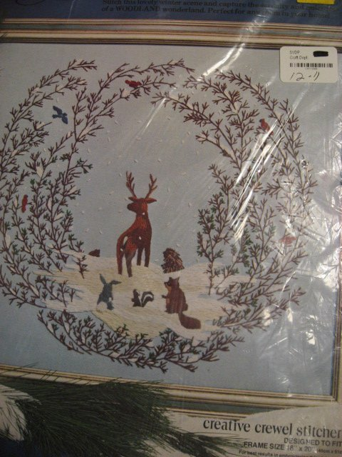 Image 0 of Winter deer and animal scene Paragon crewel stitchery Kit