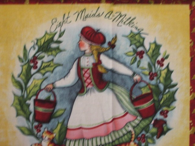 Image 1 of Christmas 12 days of song wreaths words fabric door or wall panel to sew /