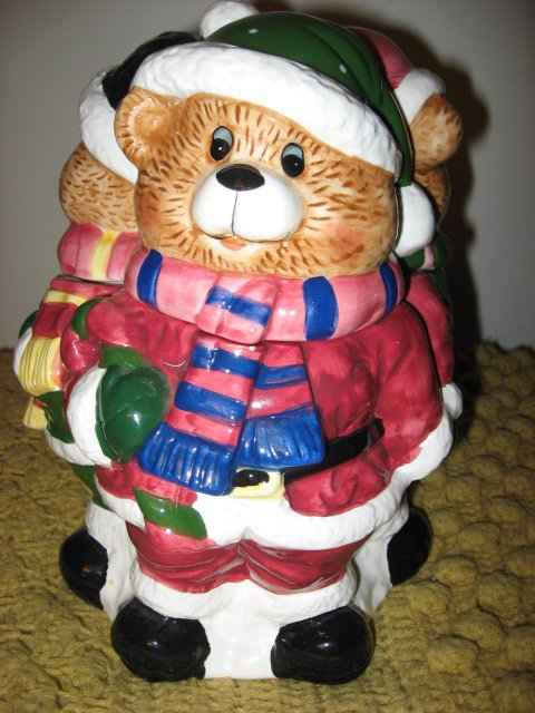Image 0 of Three Teddy bears in Winter clothes Ceramic Cookie Jar Excellent Condition