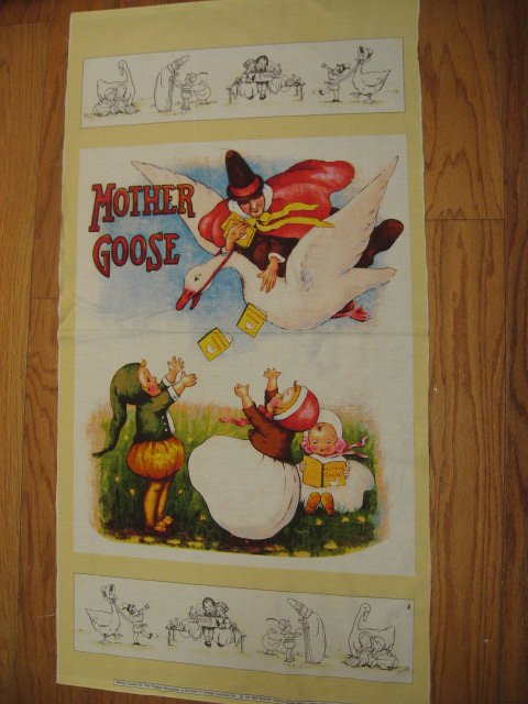 Mother Goose Story Vintage Look Fabric Wall panel to sew