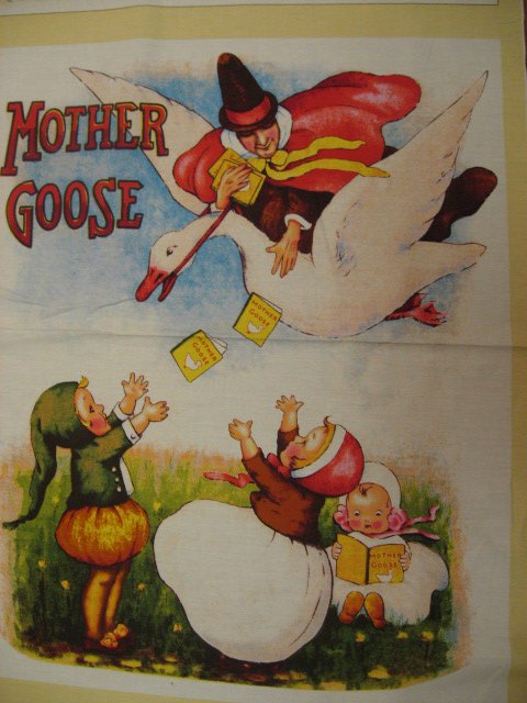 Image 1 of Mother Goose Story Vintage Look Fabric Wall panel to sew