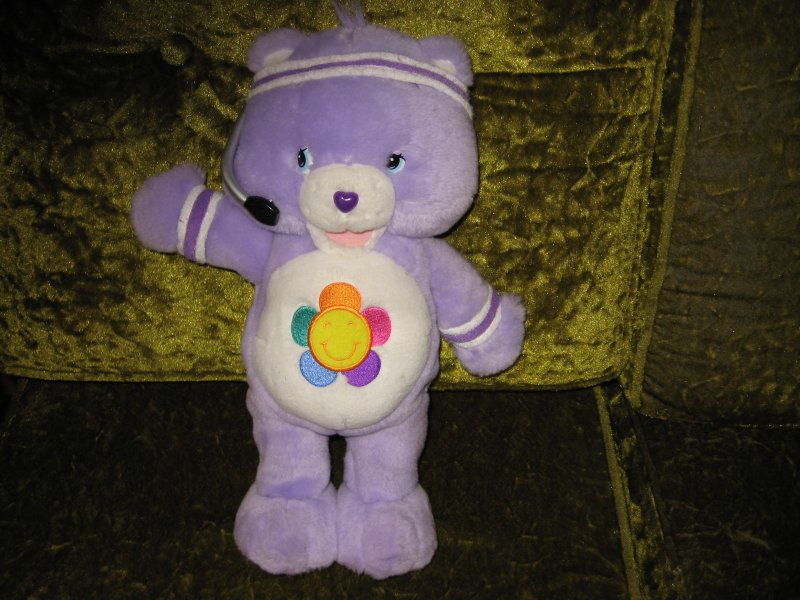 Care Bears Harmony Lilac Purple Bear Exercizes and Talks  Batteries Included