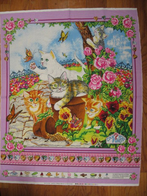 Cats Kittens in a flower garden fabric crib or wall panel to sew