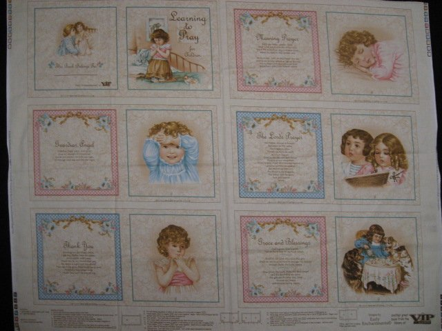 Prayer for children vintage look baby Soft book fabric Panel To Sew