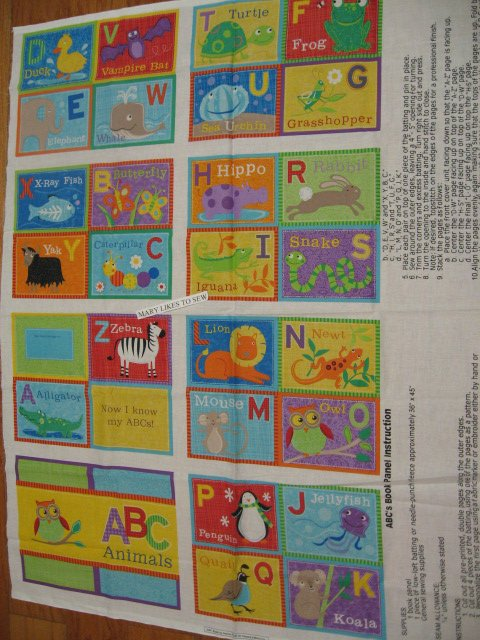 Alphabet ABC Animals baby Soft book 100% cotton fabric Panel To Sew/