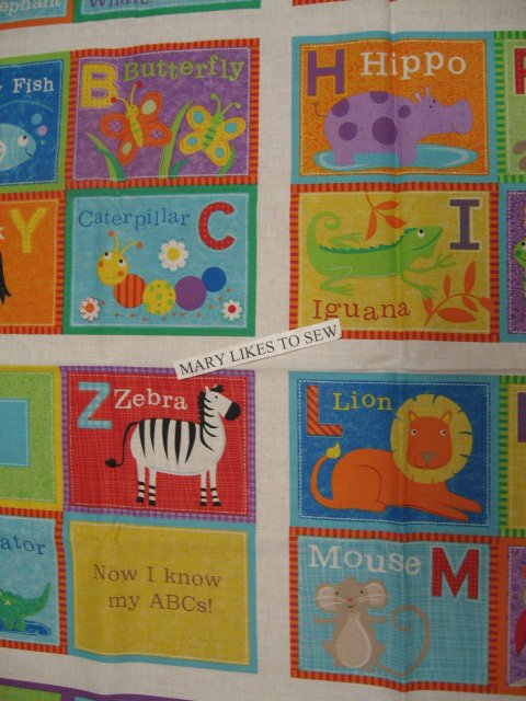 Image 1 of Alphabet ABC Animals baby Soft book 100% cotton fabric Panel To Sew/