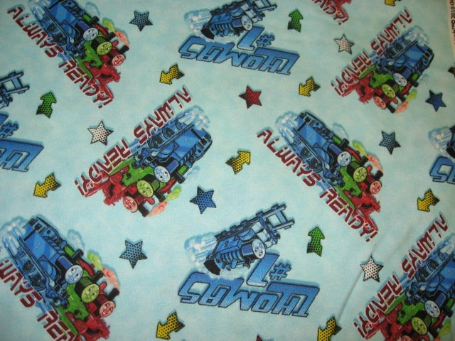 Thomas the train Tank Always Ready Flannel handmade baby blanket /