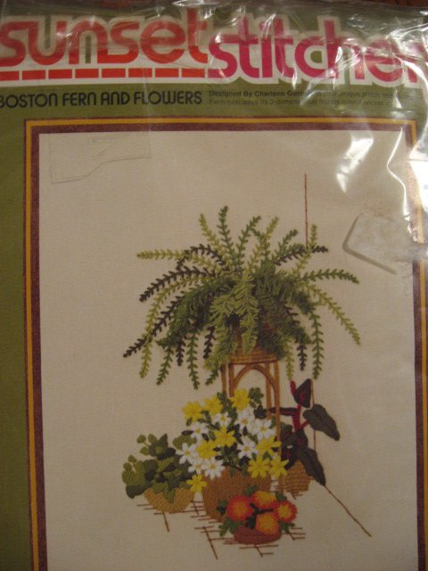 Image 0 of Boston Fern and  flowers Sunset stitchery crewel Kit 16