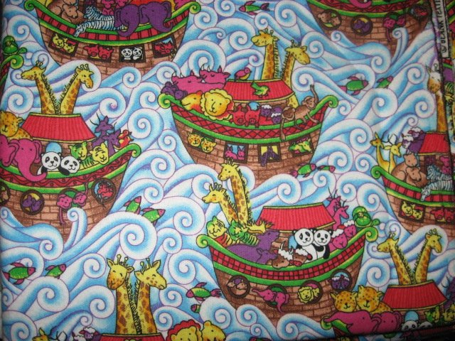 Image 0 of Noahs Ark with Giraffes and waves Flannel baby blanket