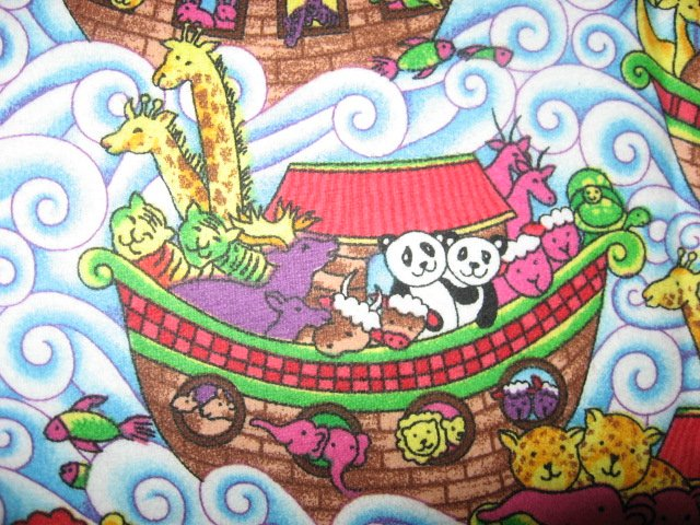 Image 1 of Noahs Ark with Giraffes and waves Flannel baby blanket
